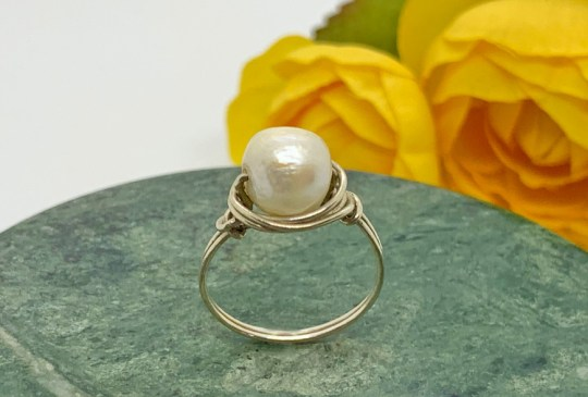 Cultured Pearl Silver Ring