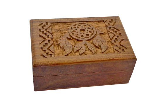 Dream Catcher Carved Wooden Box