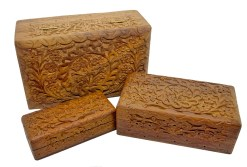 Floral Tree of Life Carved Wooden Box Set
