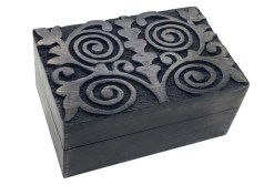 Spiral Tree of Life Carved Wooden Box