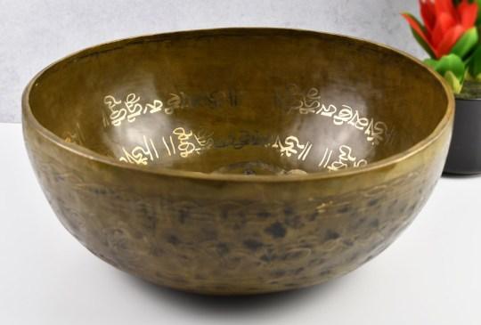 "12"" Puncha Buddha Carved Tibetan Singing Bowl"