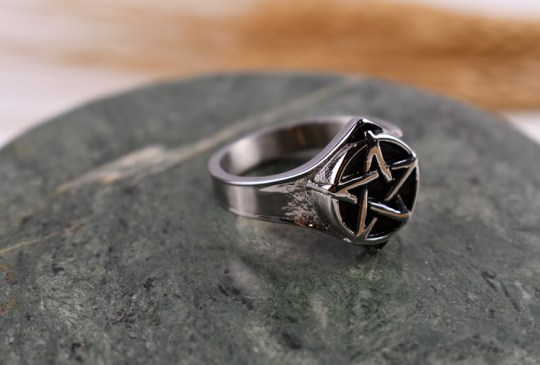 Silver Plated Pentagram Ring