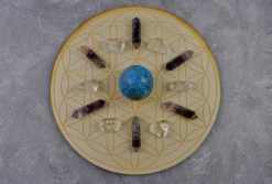 Flower of Life Sphere Holder Crystal Grid with Stones
