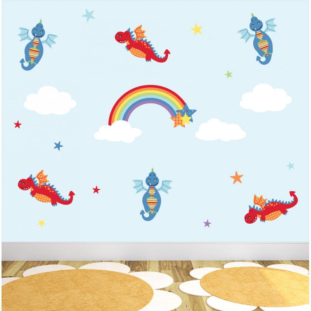 Dragon And Rainbow Nursery Wall Stickers