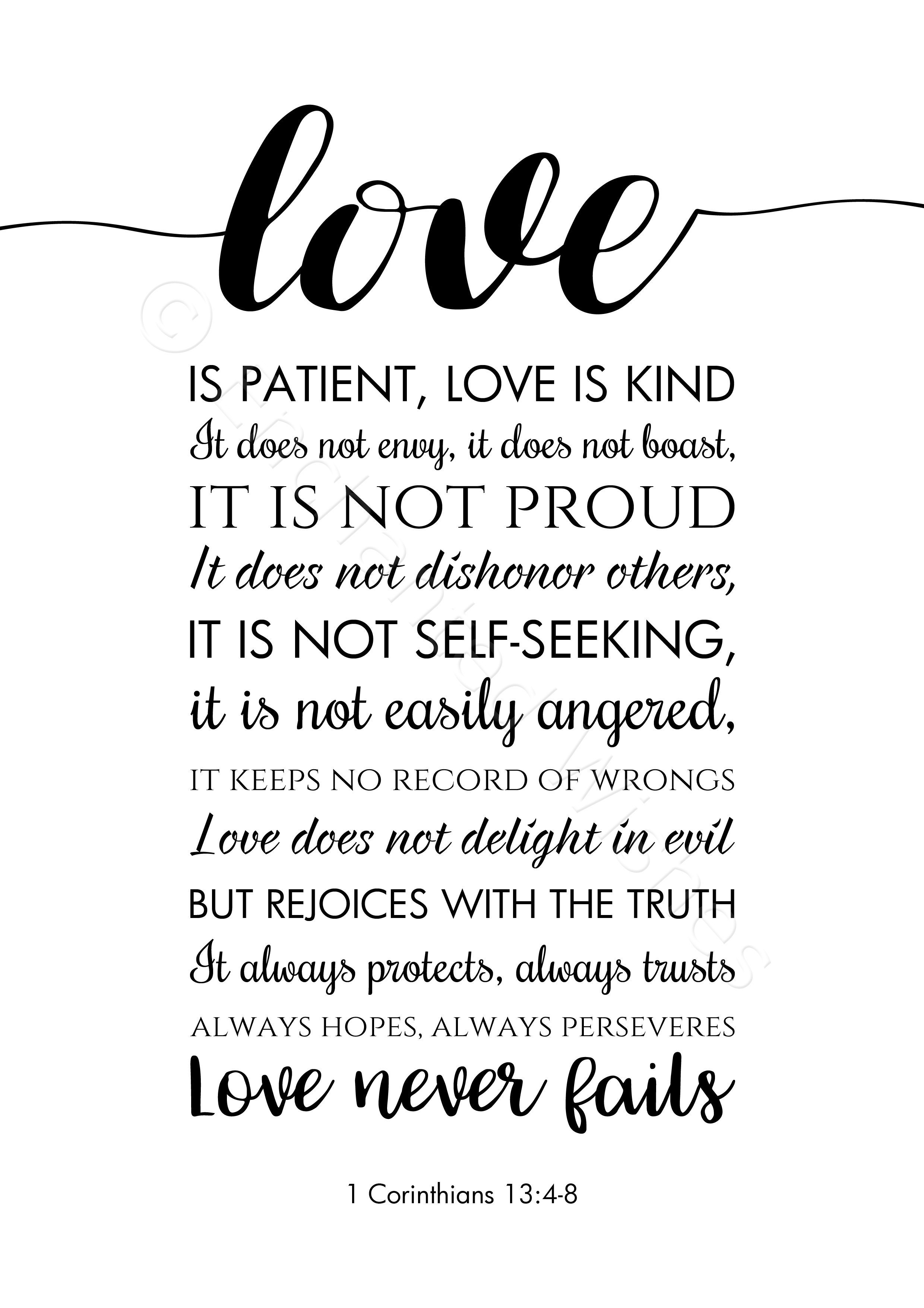Love Is Patient Love Is Kind Bible Verse Quote Print