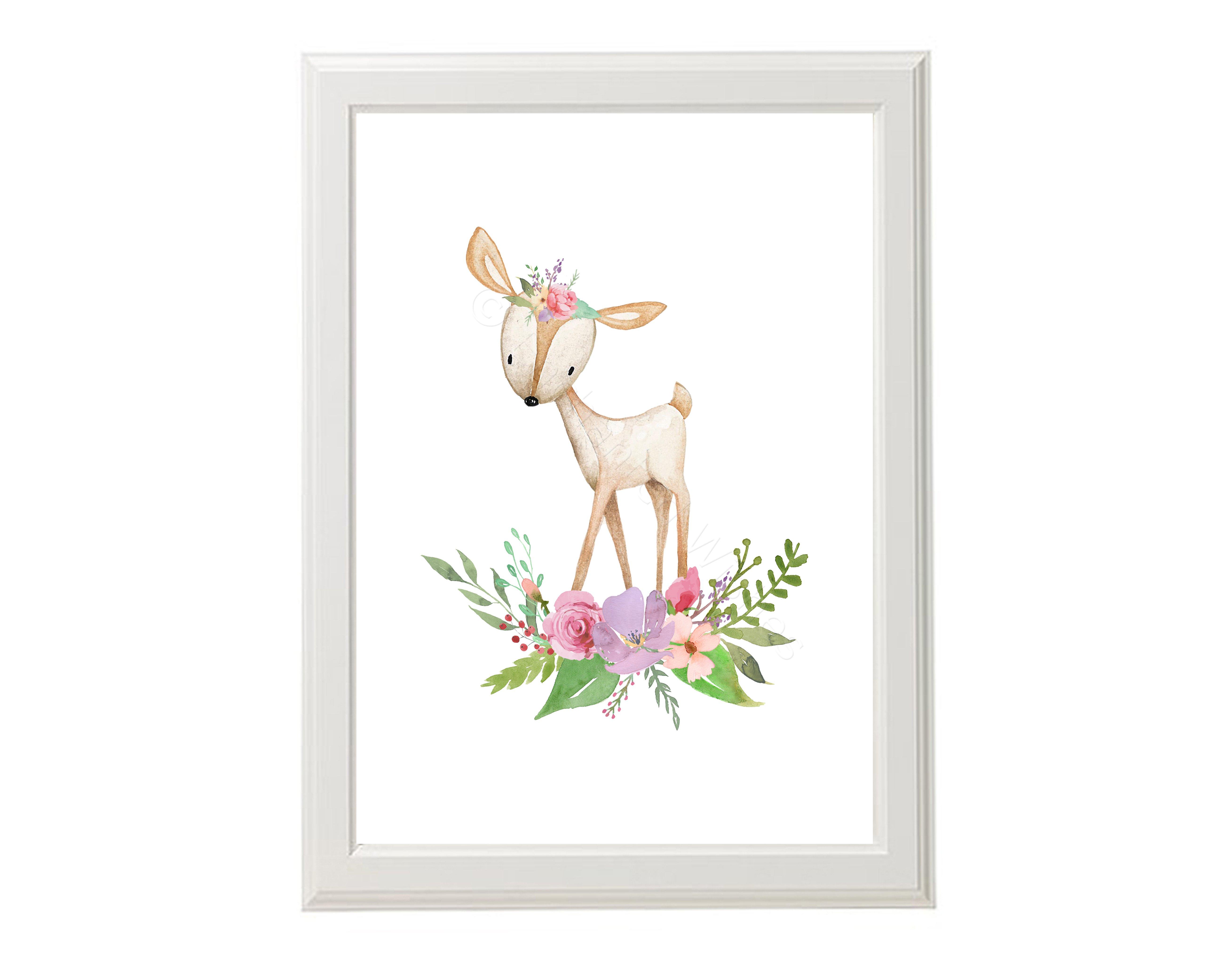 Set Of 4 Boho Woodland Animals Nursery Decor Prints Art Prints Nursery Wall Art Quote