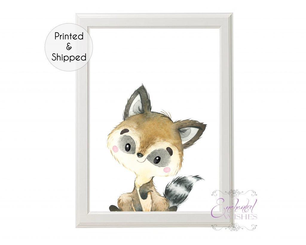 Raccoon Woodland Animal Nursery Print