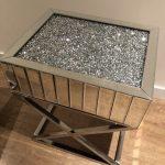 Crushed Diamond Mirrored Mosaic Side Table Enchanted Furnishings