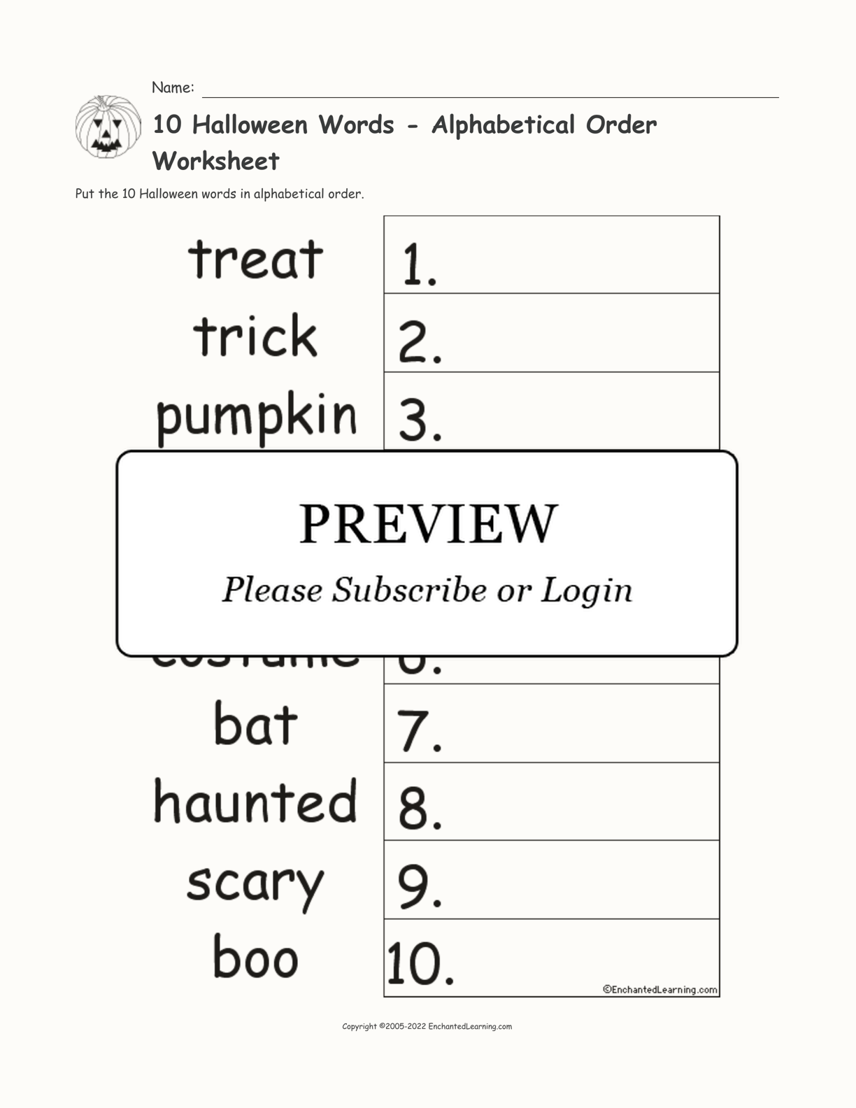 10 Halloween Words