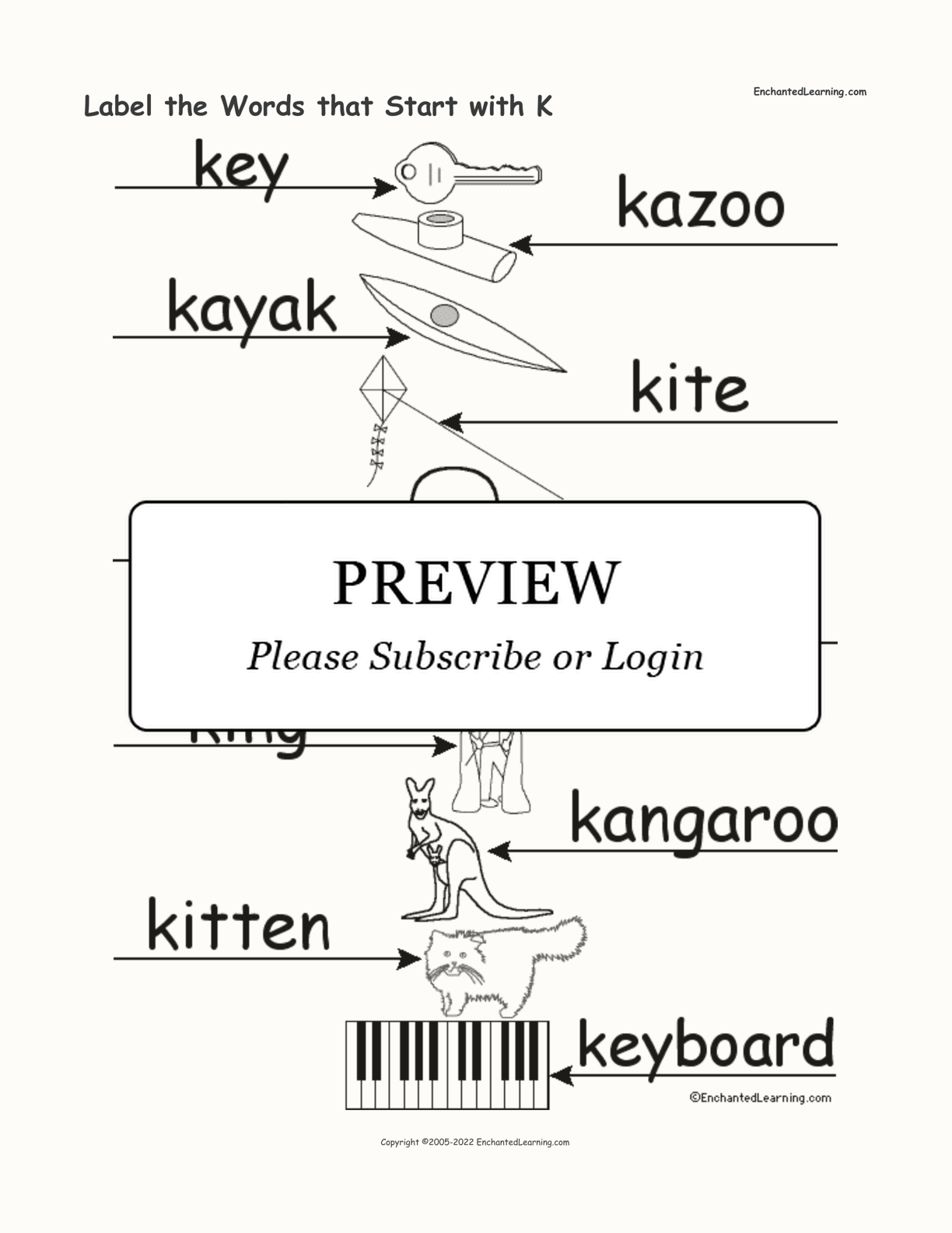 Label The Words That Start With K