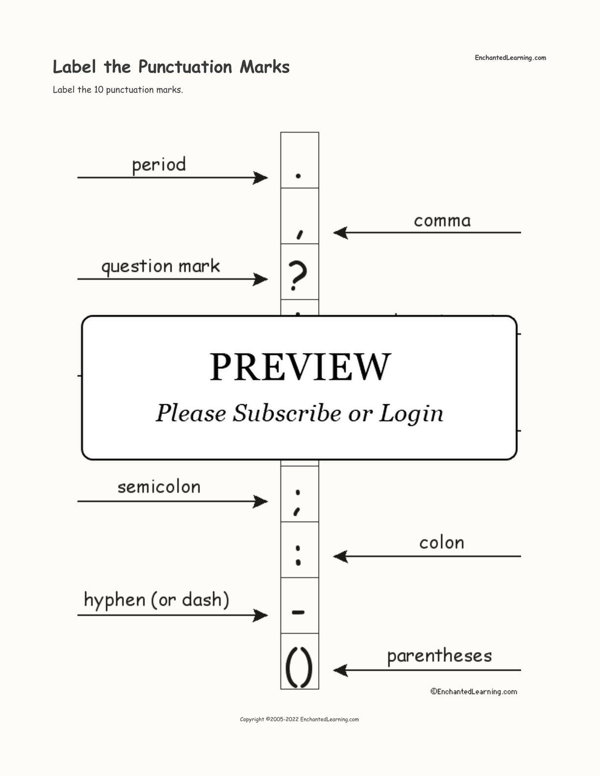 Label The Punctuation Marks