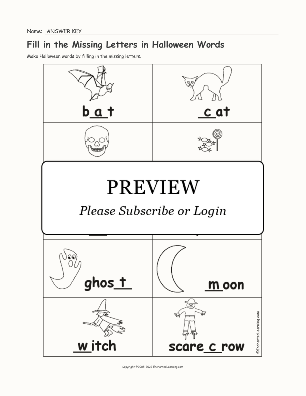 Fill In Missing Letters In Halloween Words