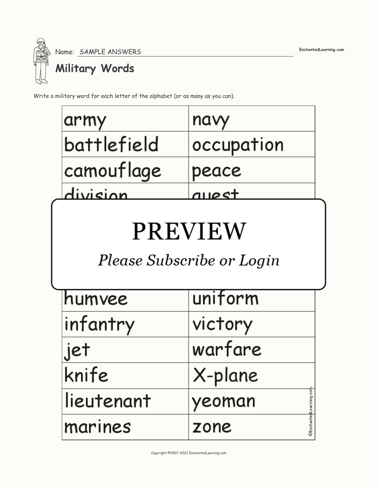 A Military Word For Each Letter