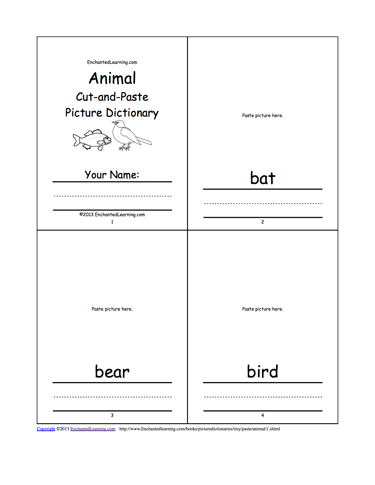 Animal Cut And Paste Picture Dictionary