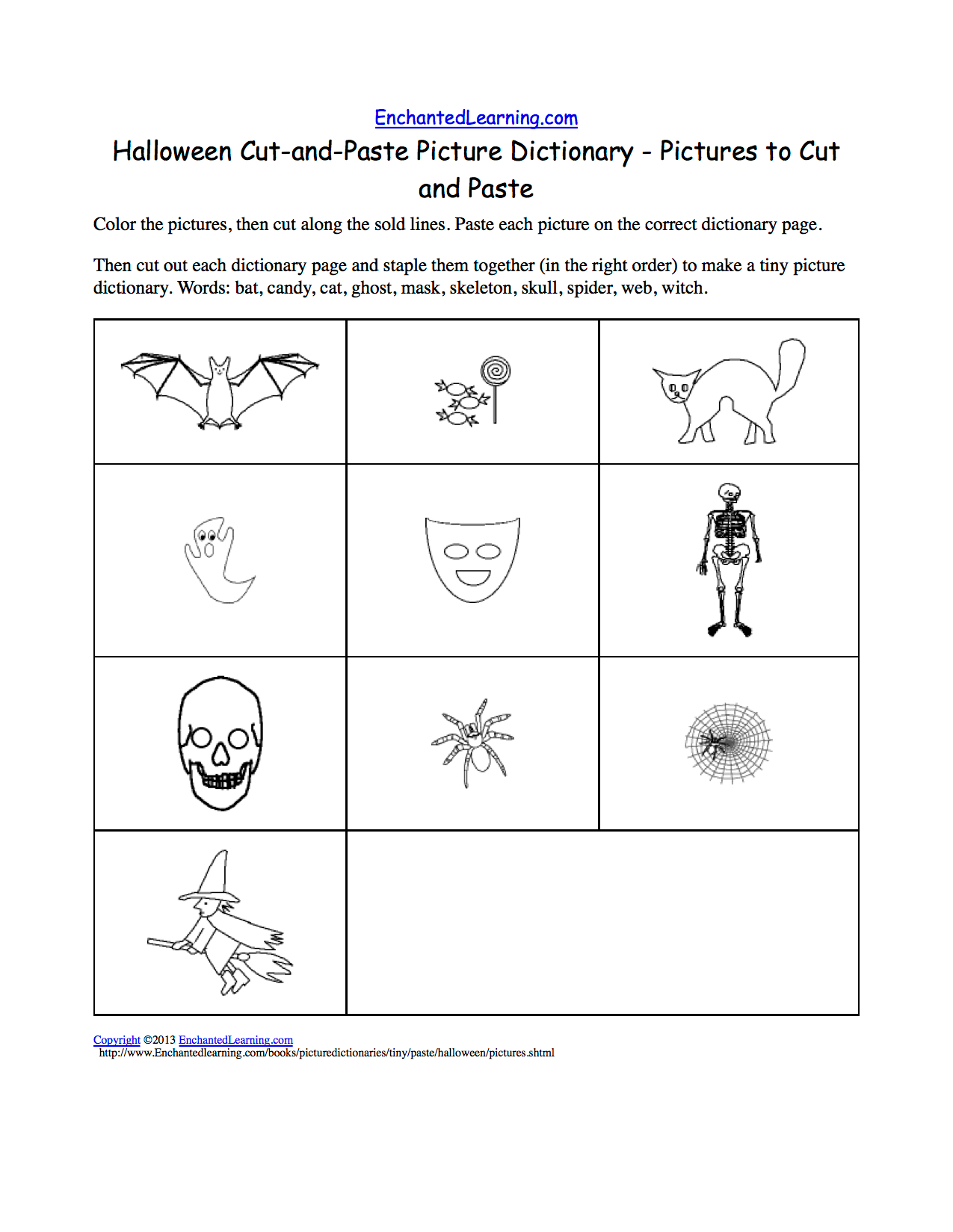 Halloween Cut And Paste Picture Dictionary