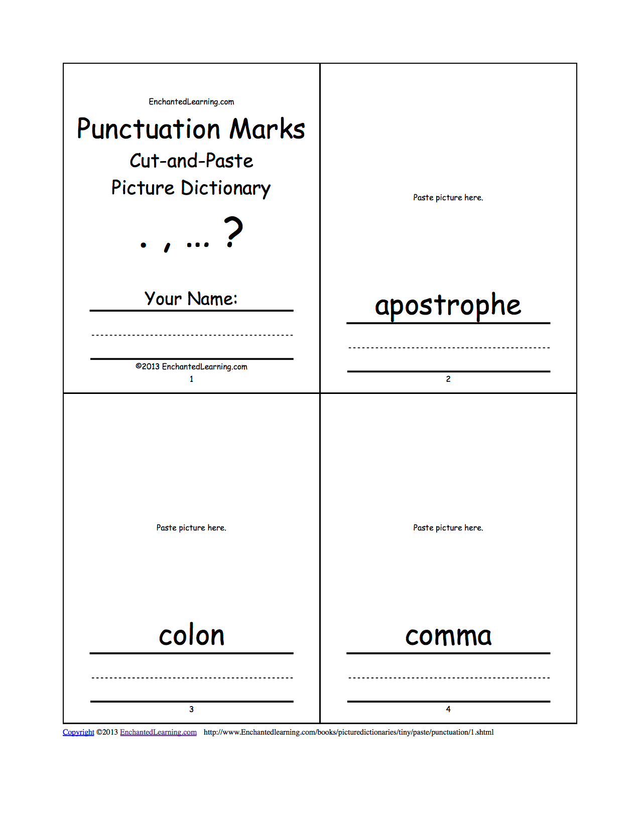 Punctuation Marks Cut And Paste Picture Dictionary