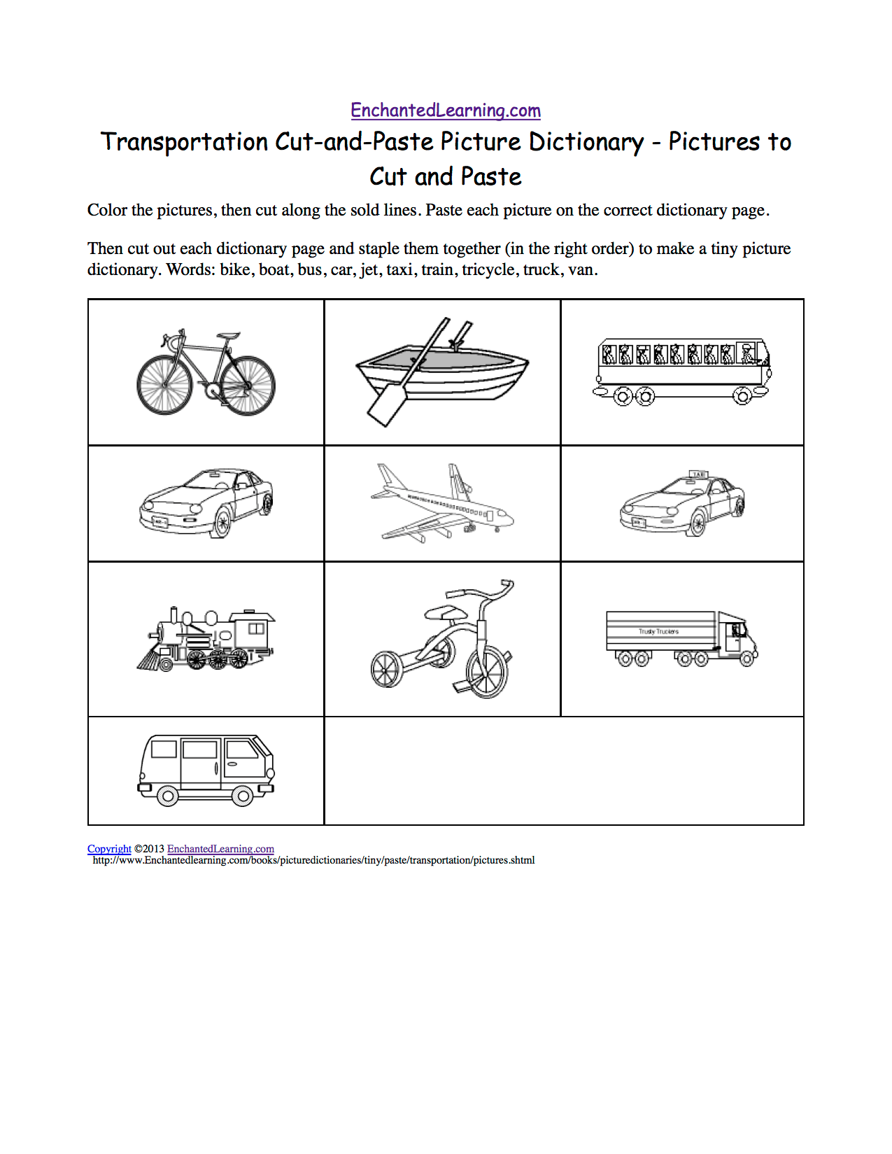 Transportation Cut And Paste Picture Dictionary