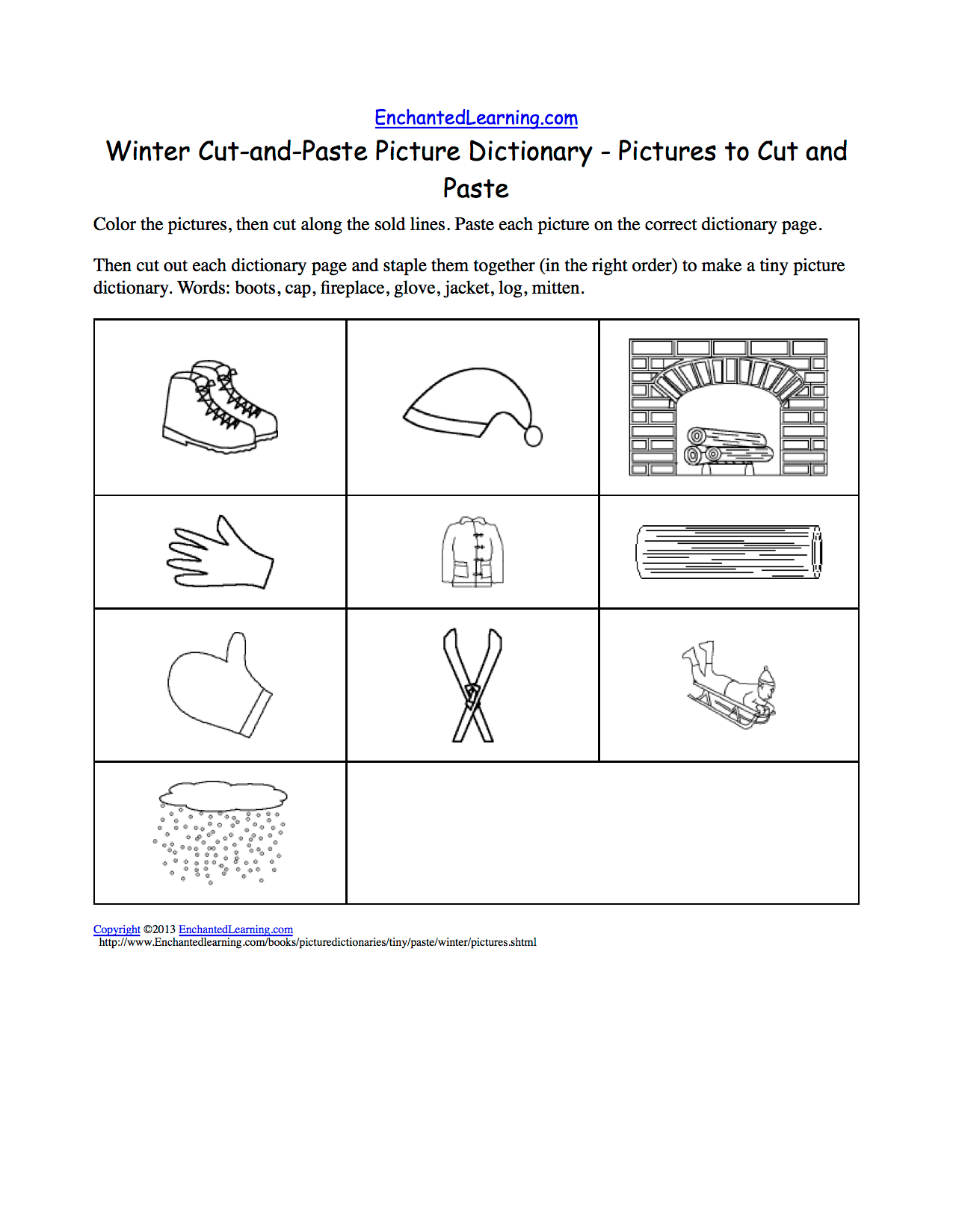Winter Cut And Paste Picture Dictionary