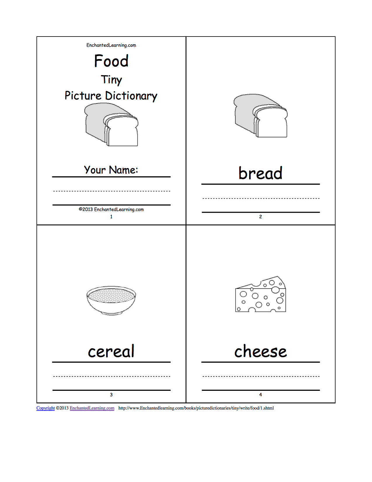 Food Tiny Picture Dictionary