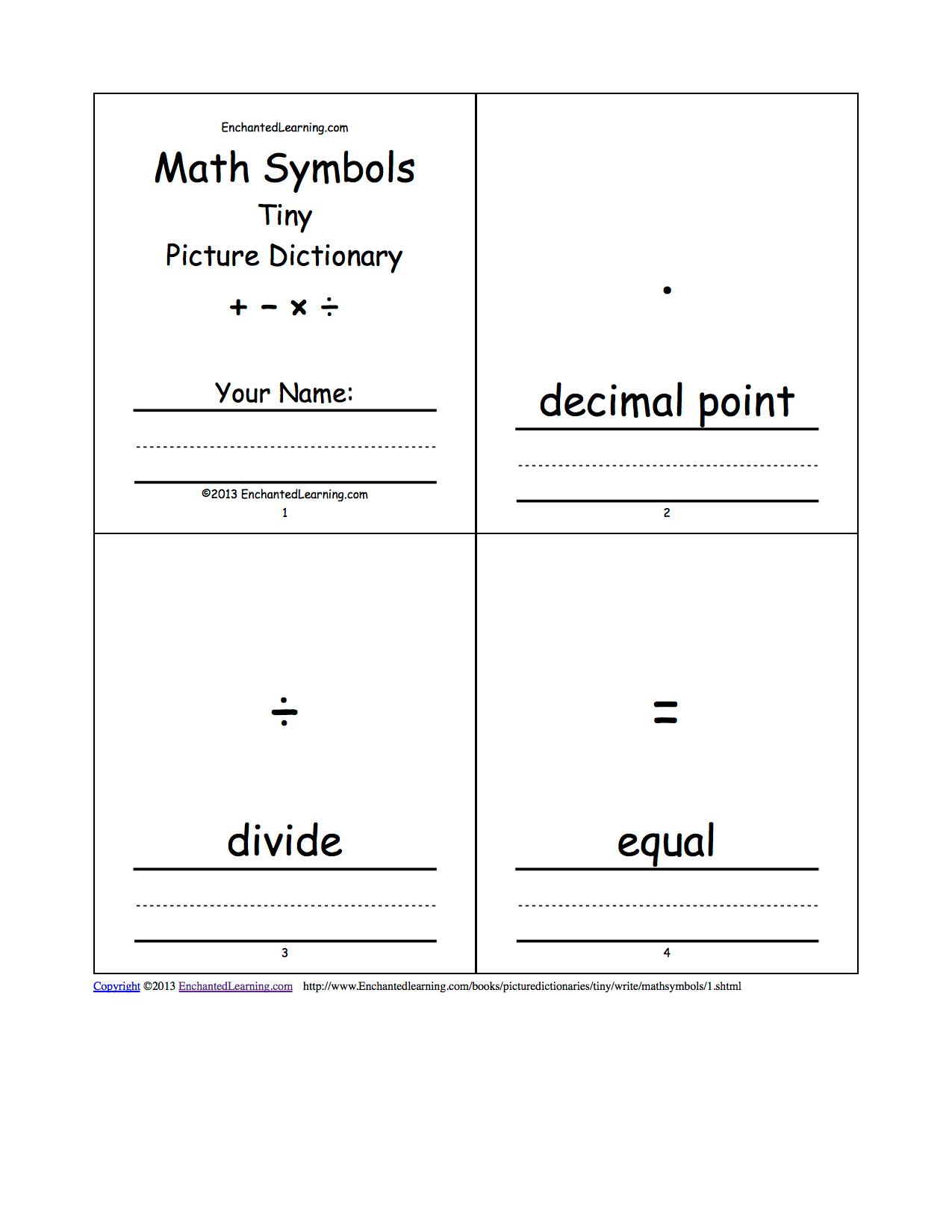 Math Symbols Tiny Picture Dictionary