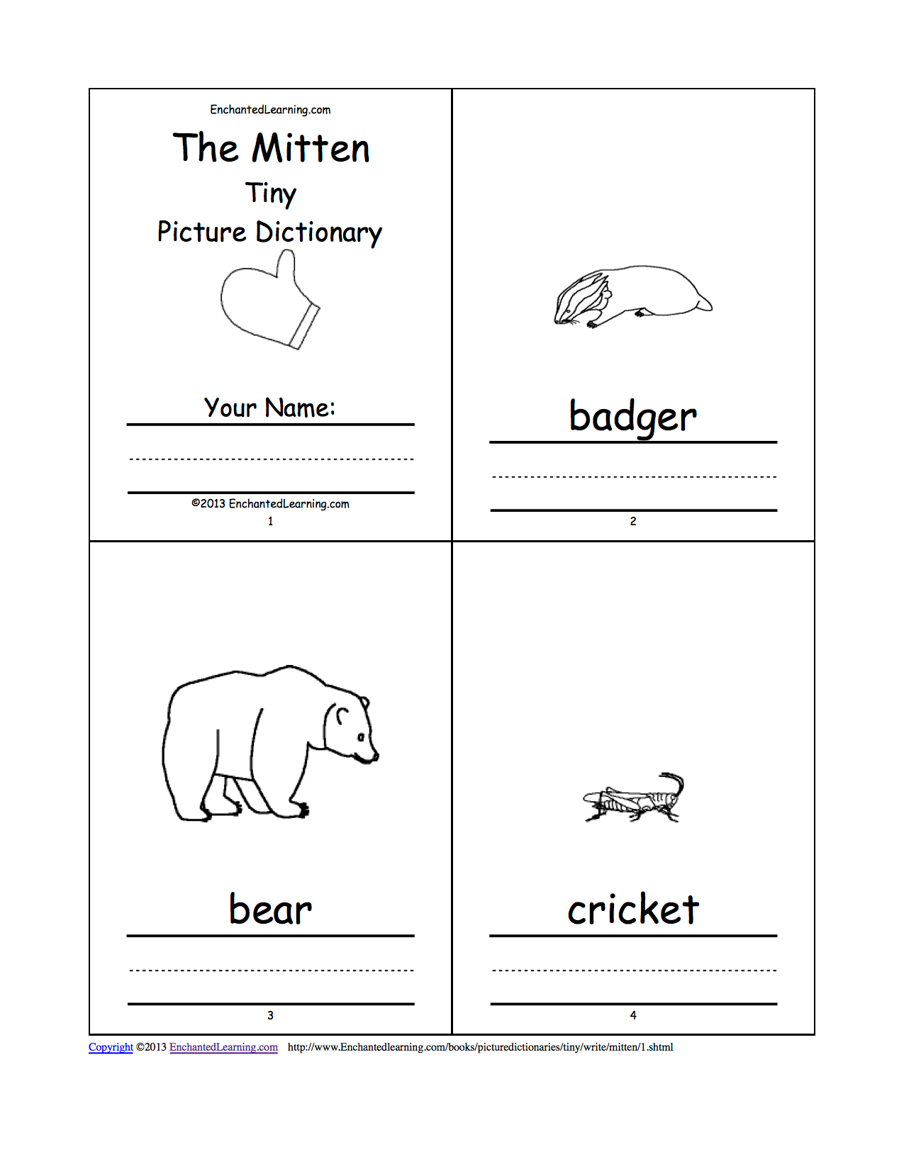 The Mitten Tiny Picture Dictionary