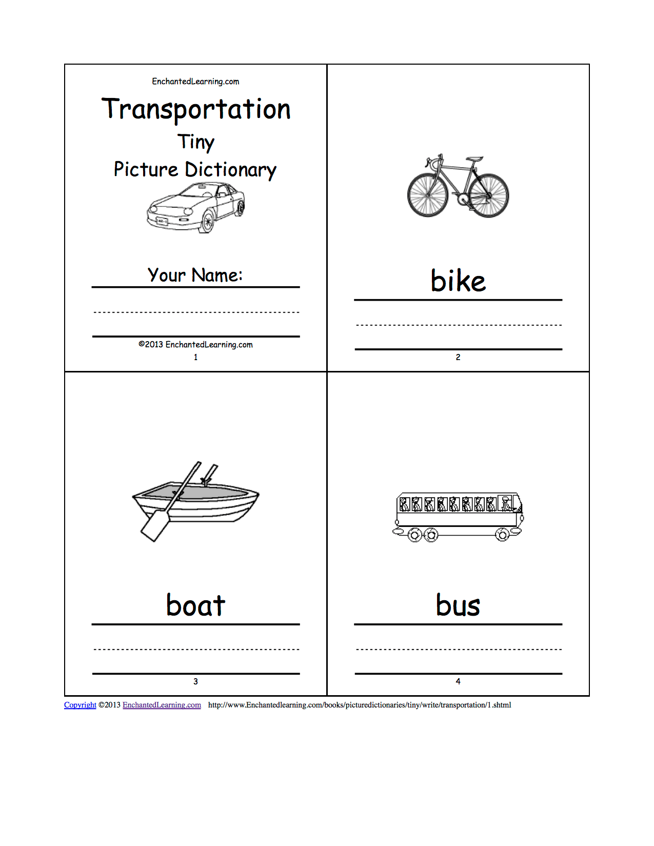 Transportation Tiny Picture Dictionary