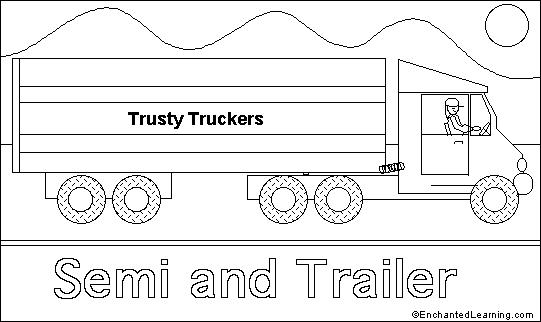 semi truck cabs colouring pages