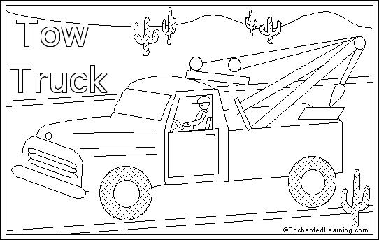 tow truck online coloring page enchantedlearning com