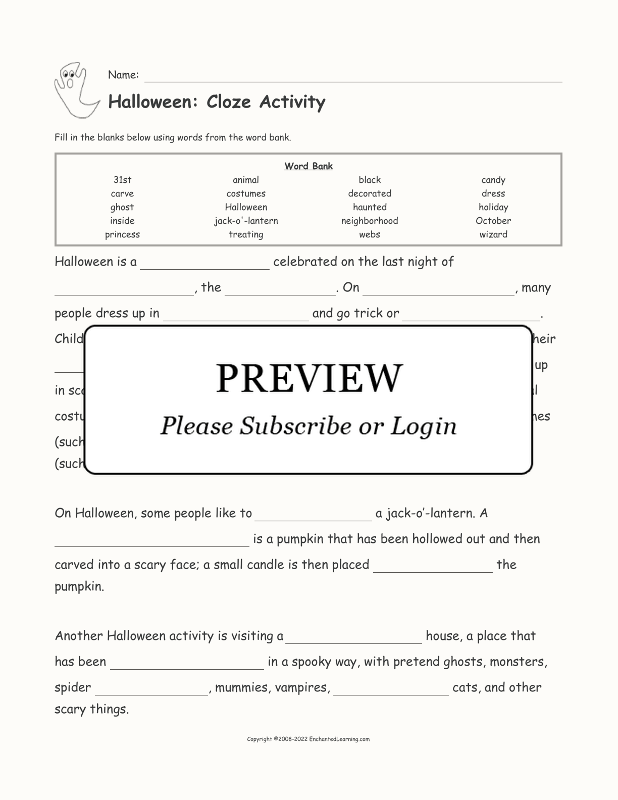 Halloween Cloze Activity