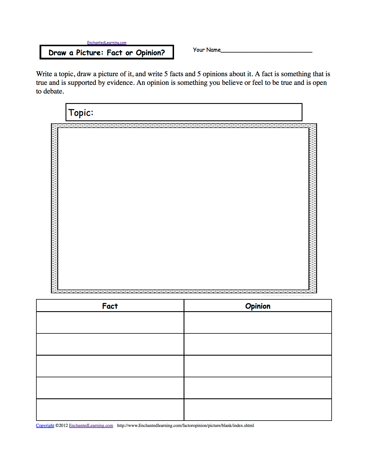 Fact Or Opinion Graphic Organizer Printouts
