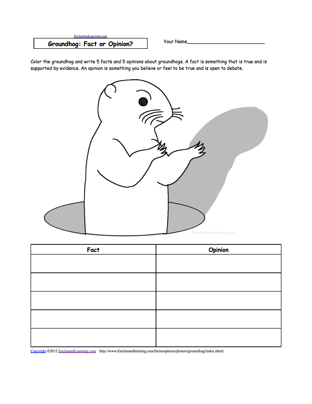 Groundhog Day Pattern Worksheets