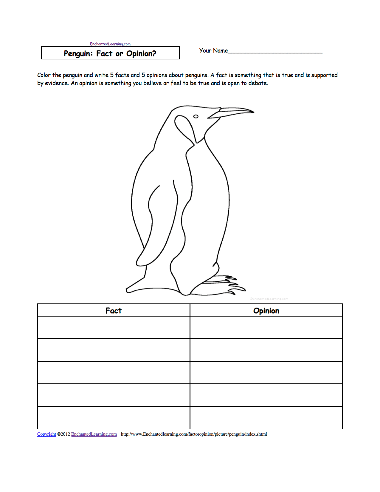 Penguin Facts Worksheet