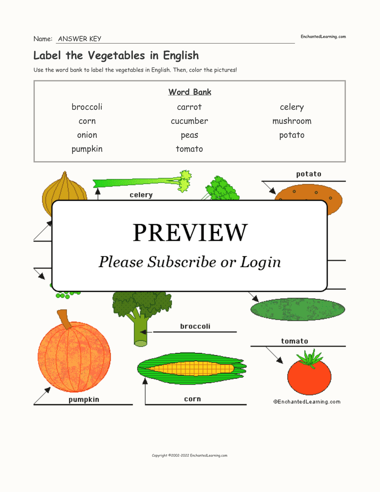 Label The Vegetables In English