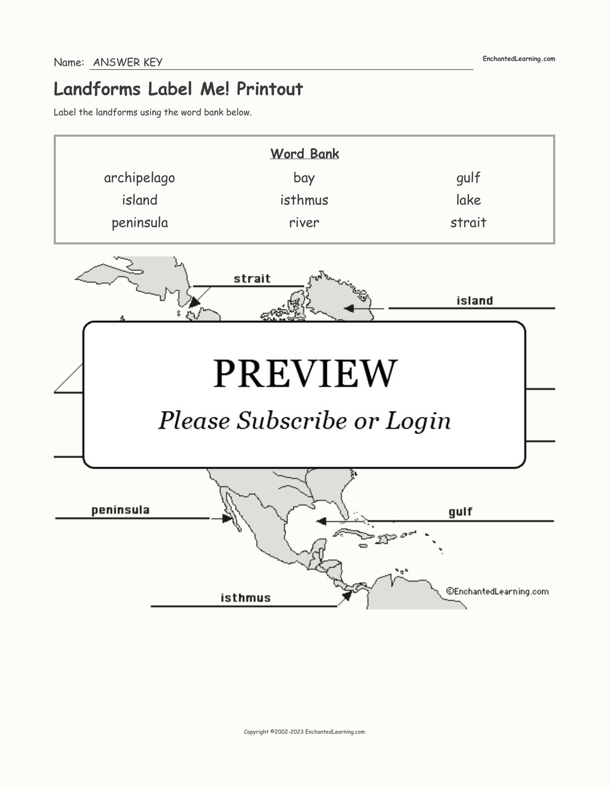 Landforms Label Me Printout