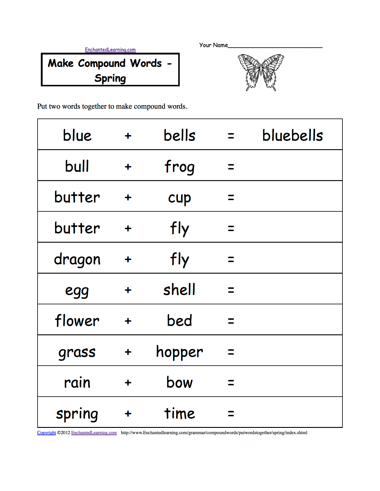 Make Compound Words Printable Worksheets Enchantedlearning