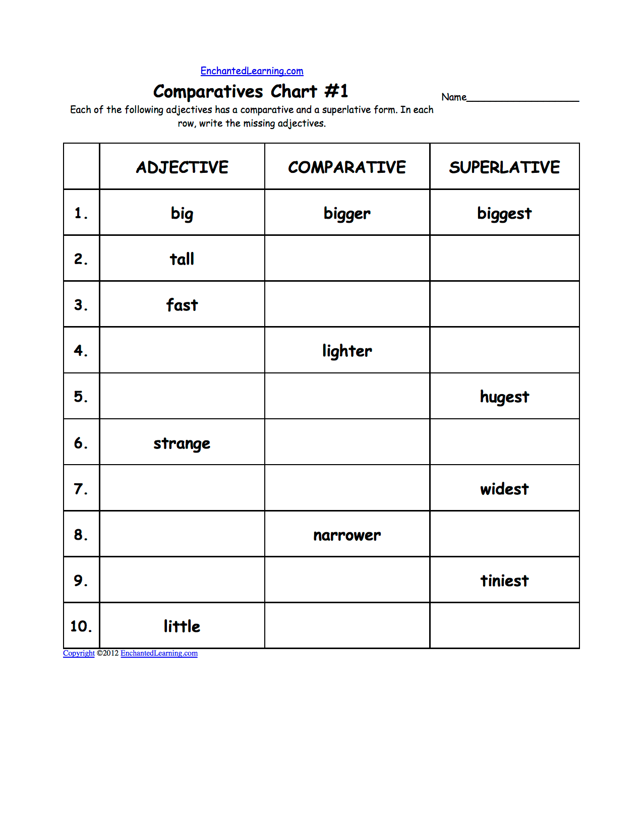 Adjective Maze Worksheet