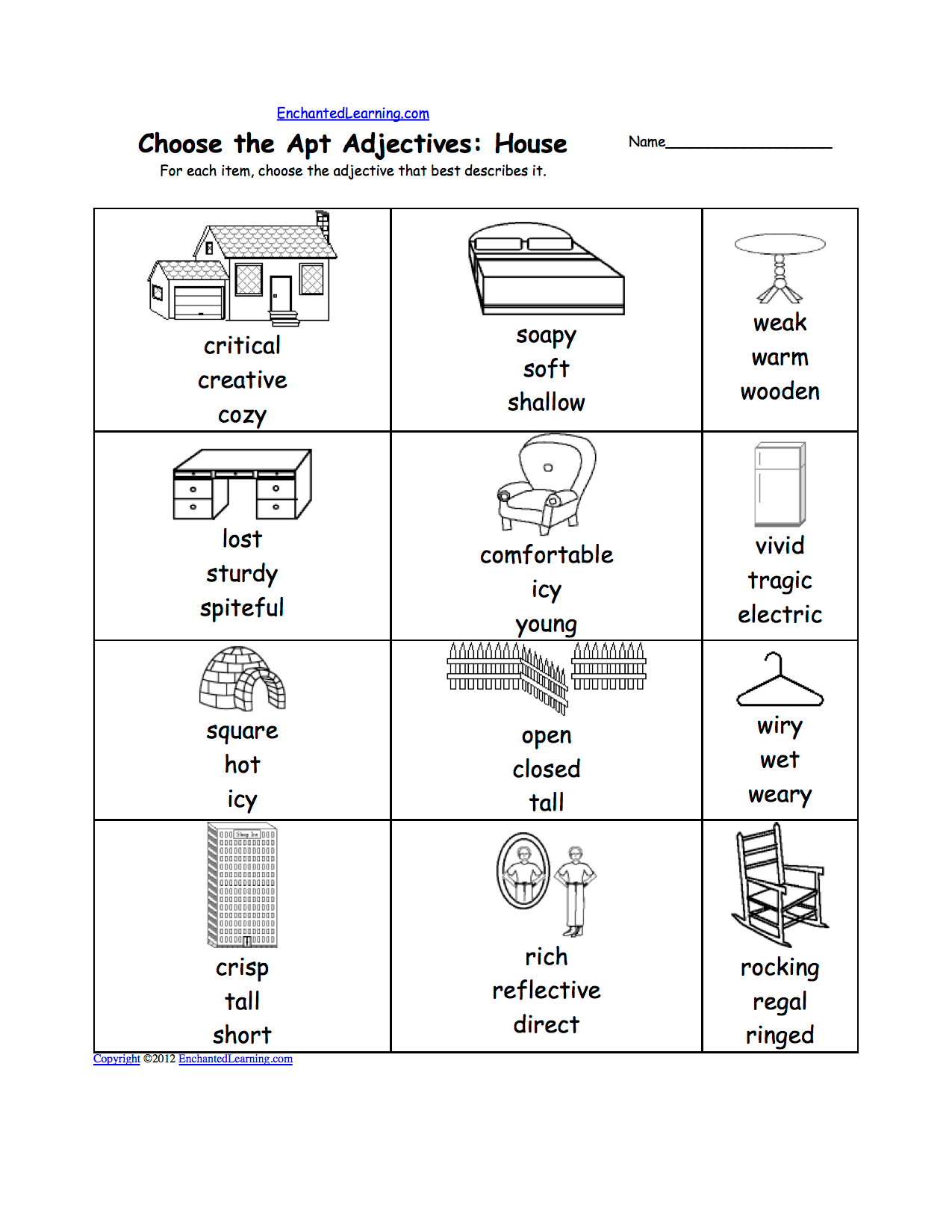 Things In The Living Room Worksheet