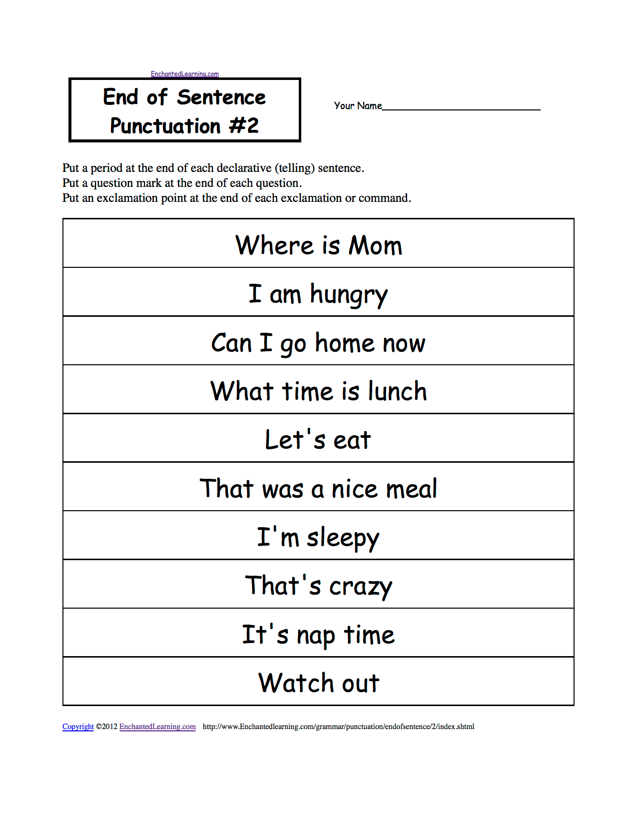 End Of Sentence Punctuation Printable Worksheets Enchantedlearning
