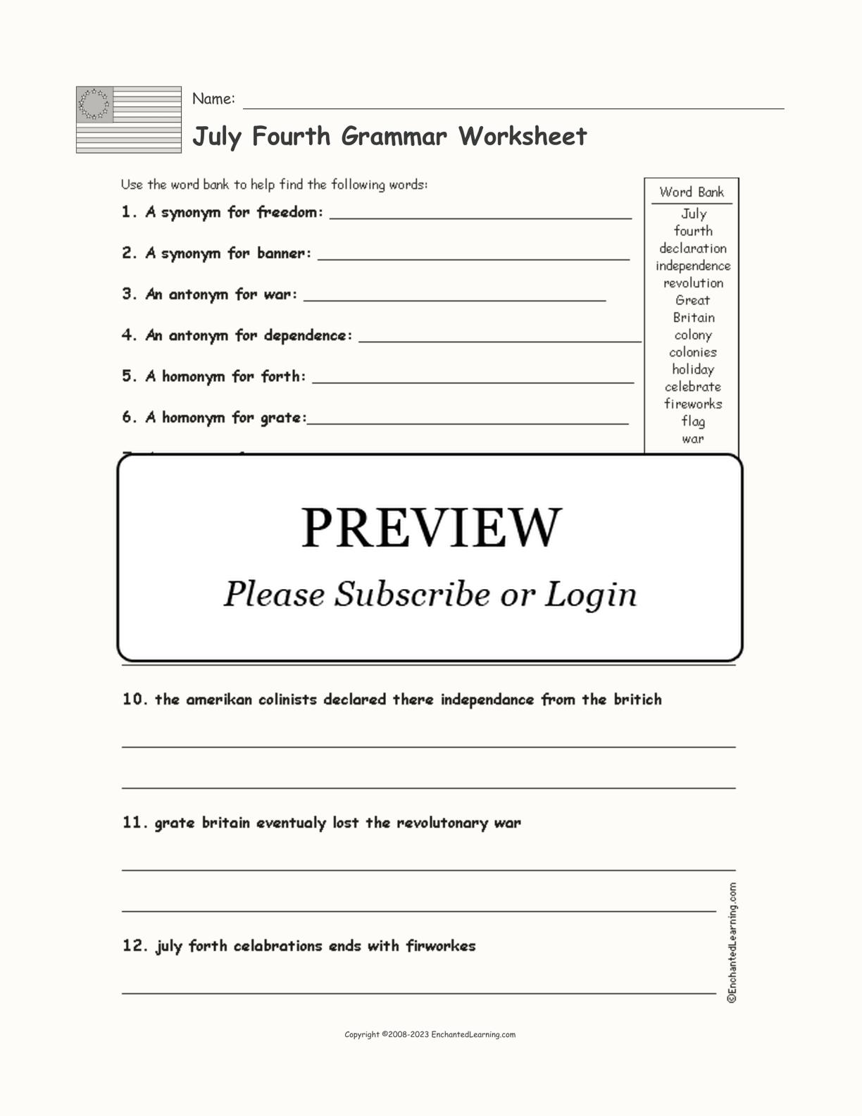 July 4th Grammar Worksheet