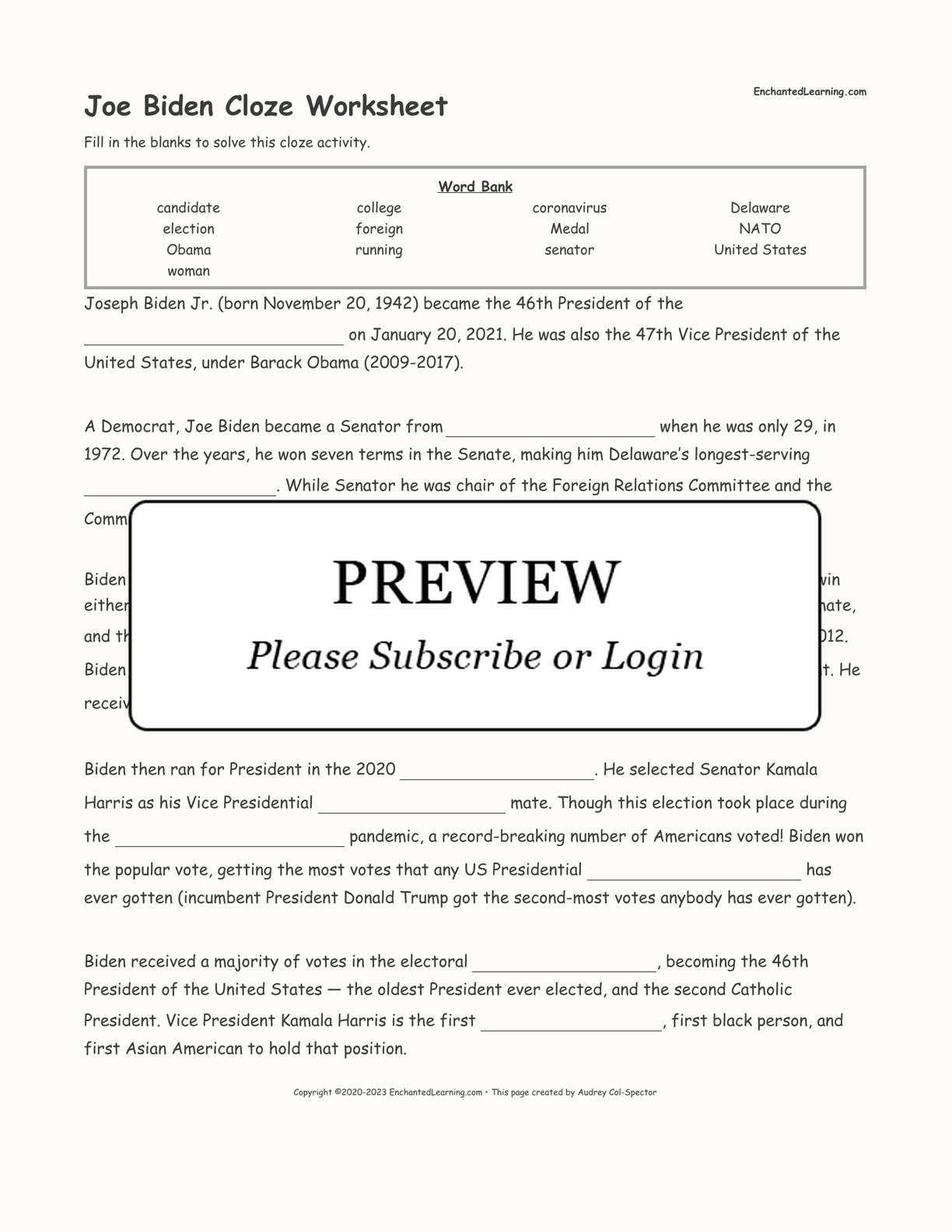 Joe Biden Cloze Worksheet