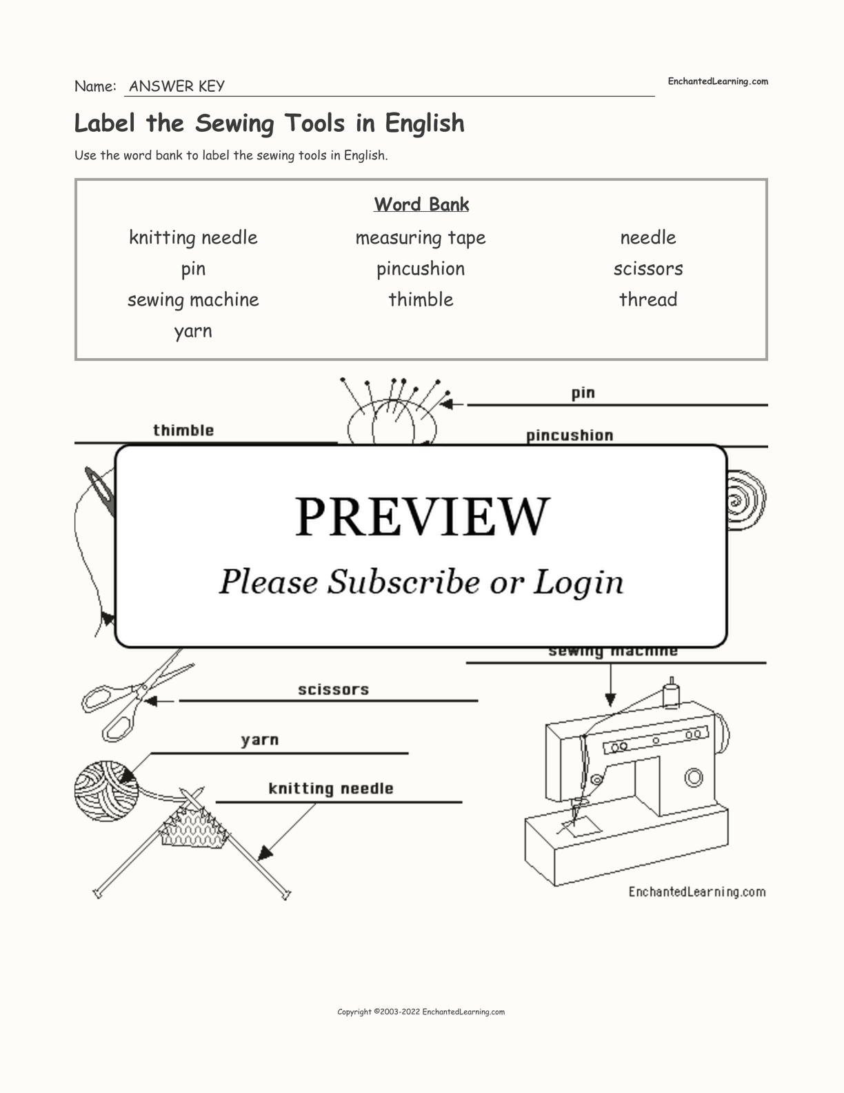 Label The Sewing Tools In English