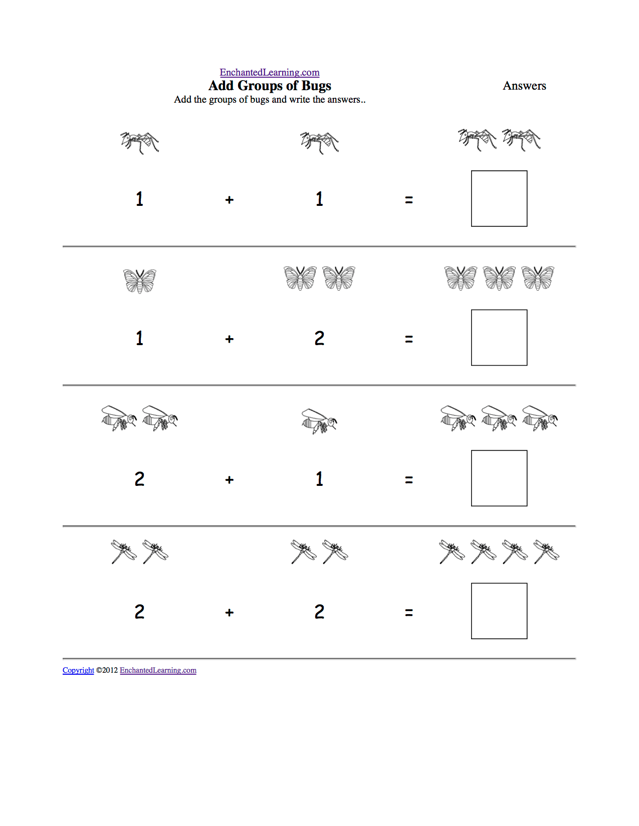 Math Addition Printouts