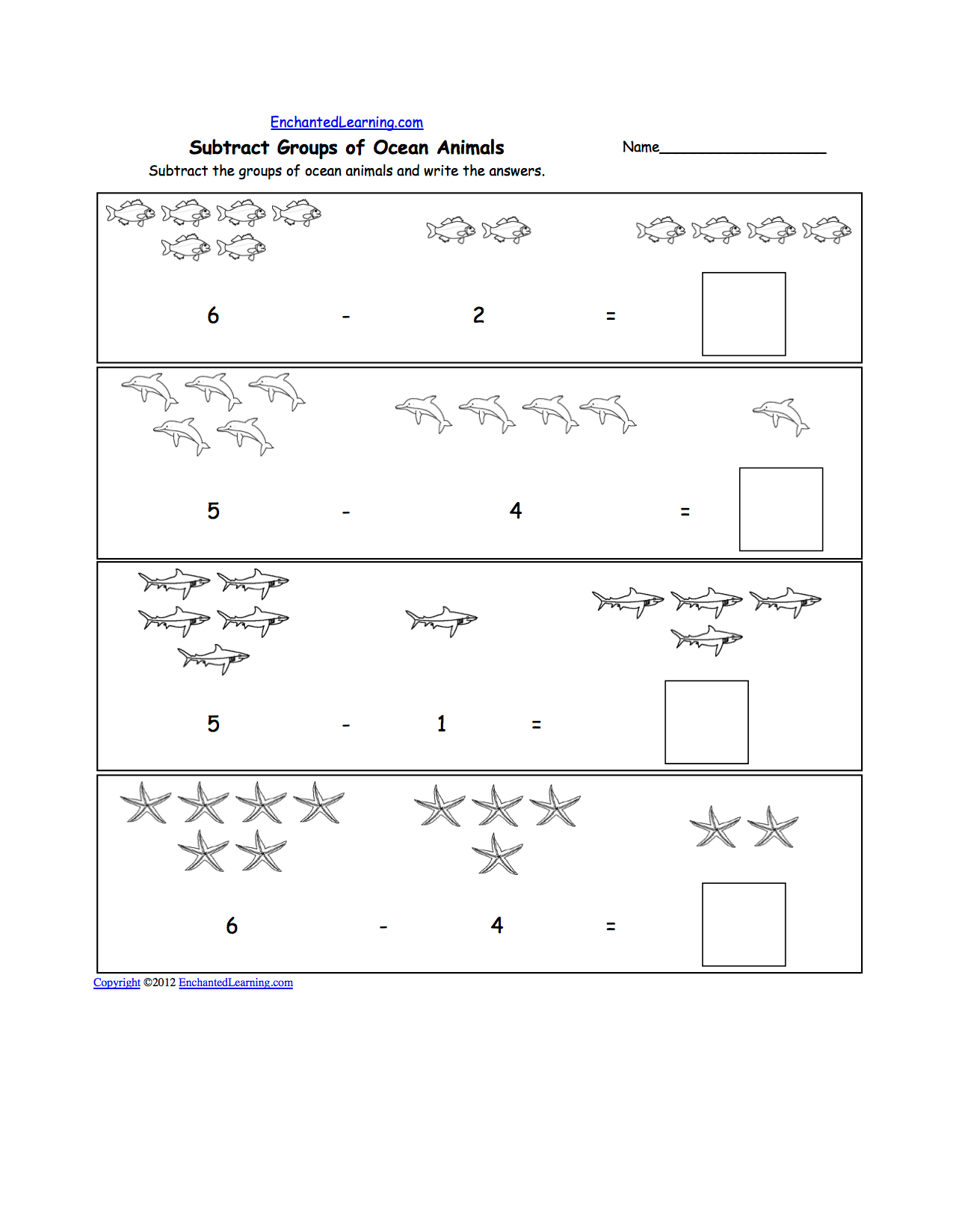 Visual Subtraction Subtracting Groups Of Items