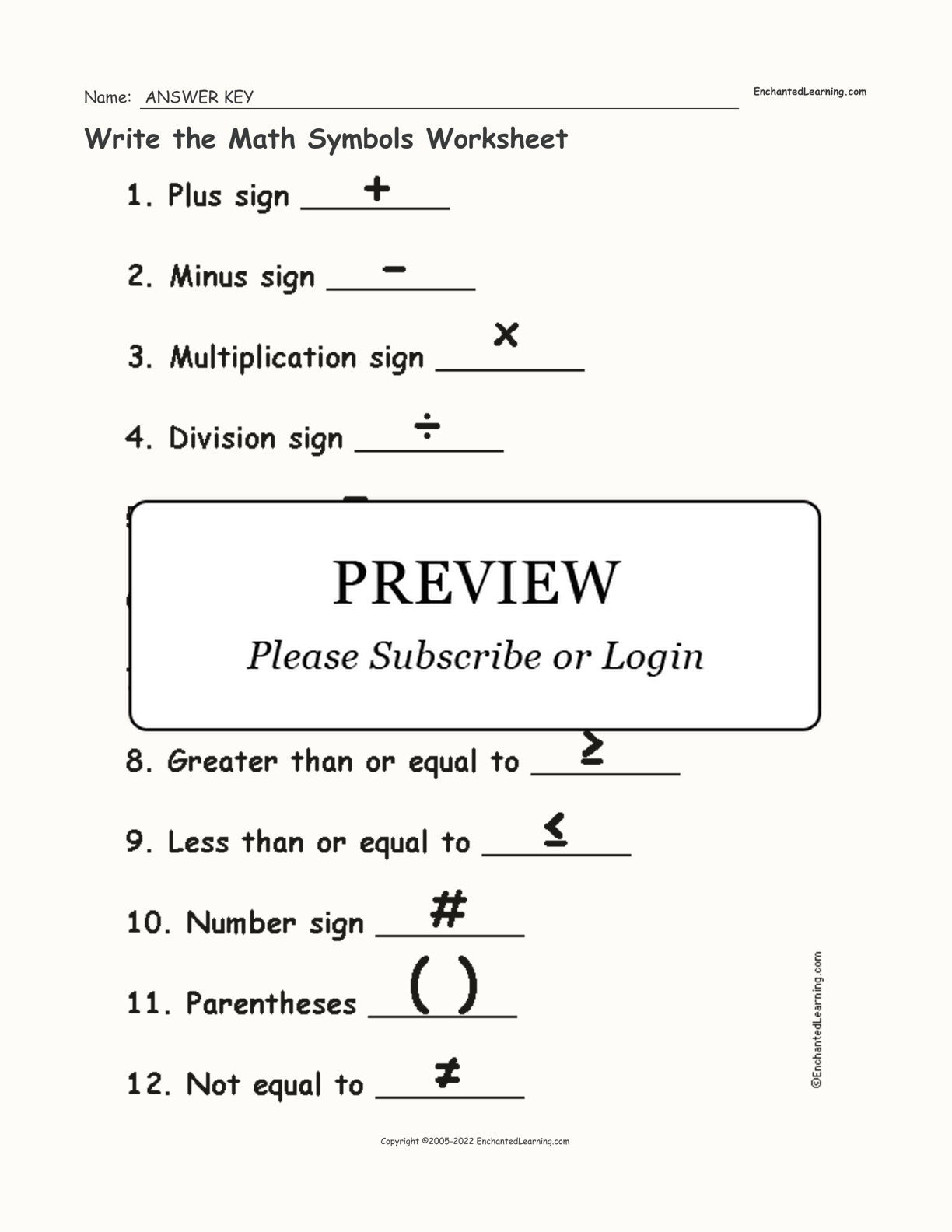 Write The Math Symbols Worksheet