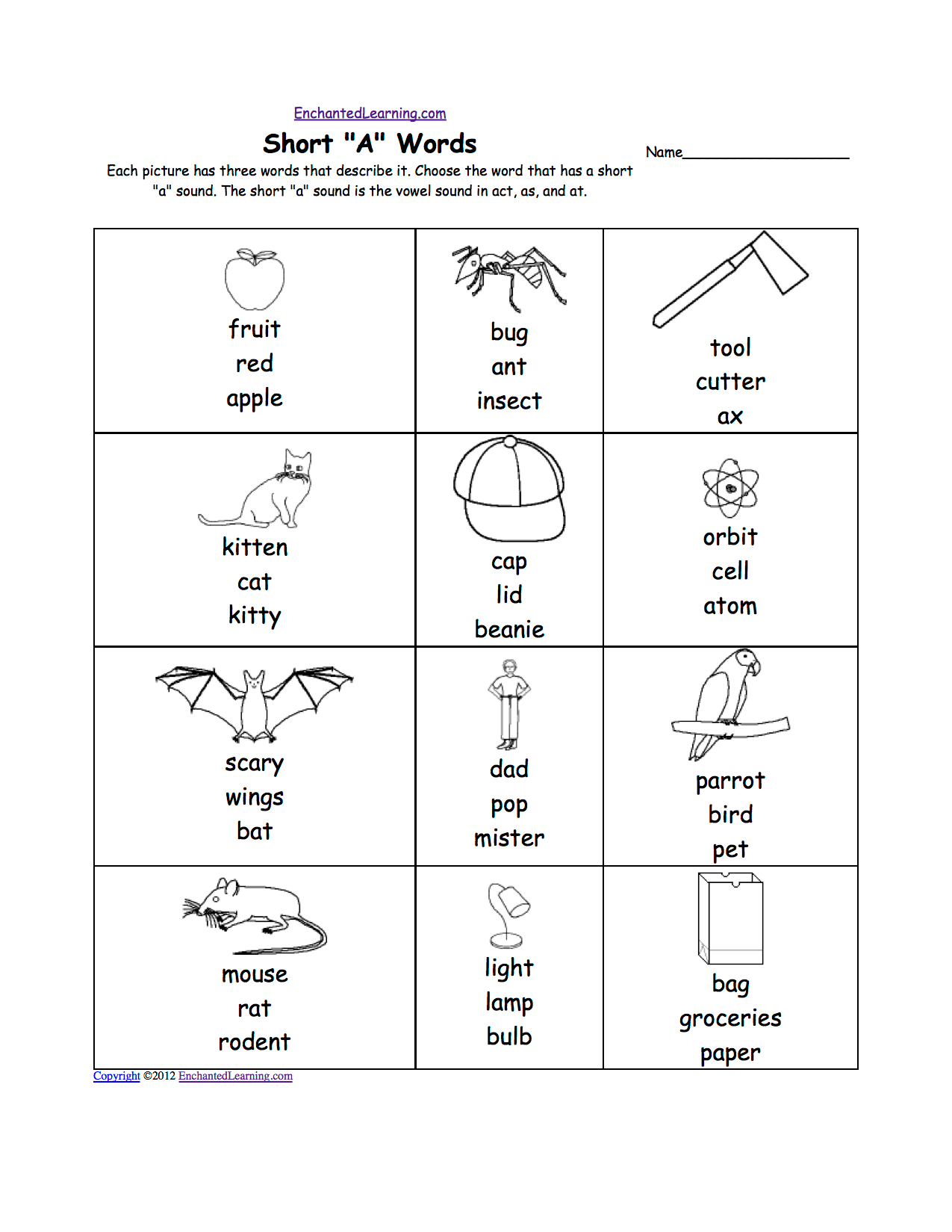 Short A Worksheets