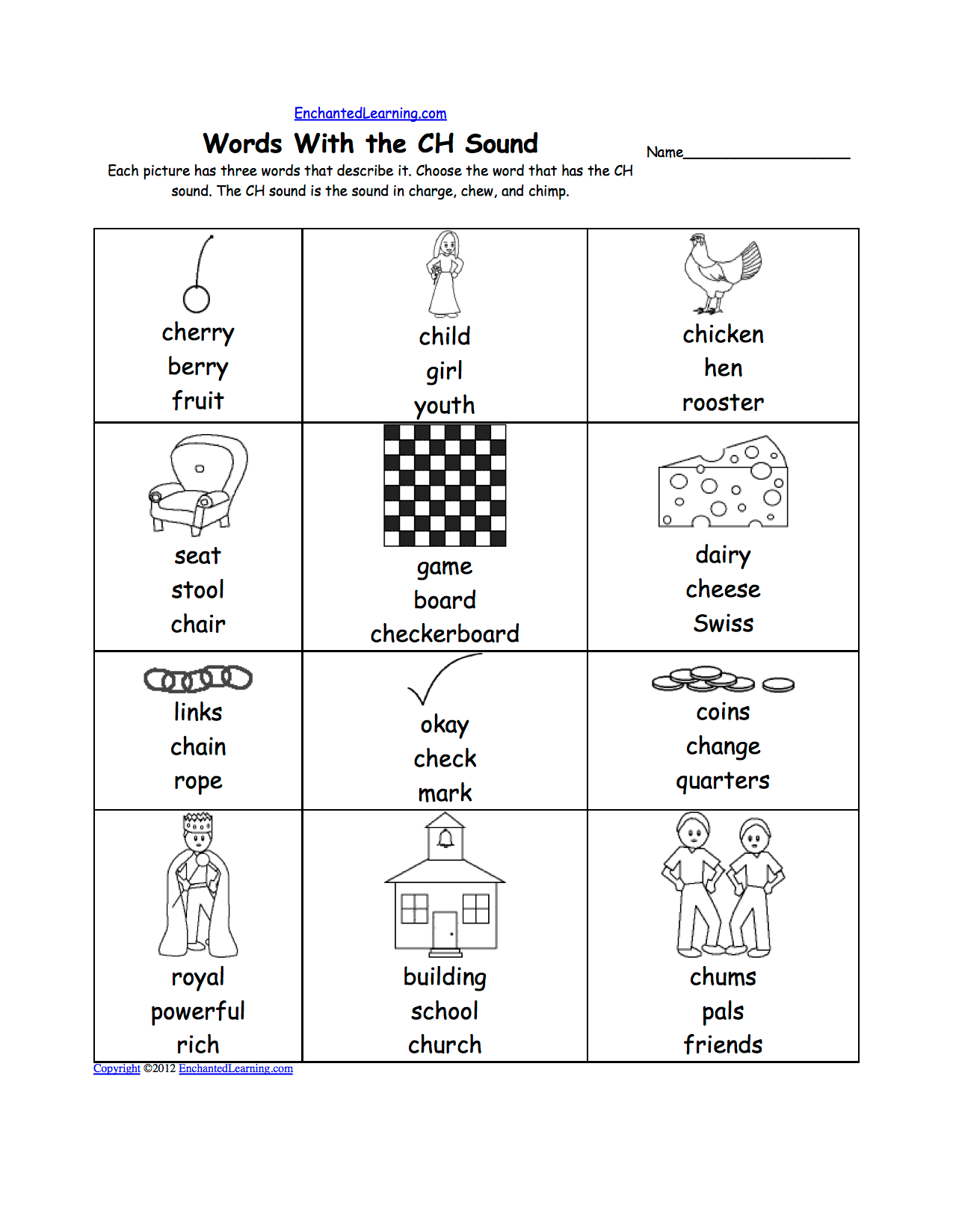 Phonics Ch Worksheet
