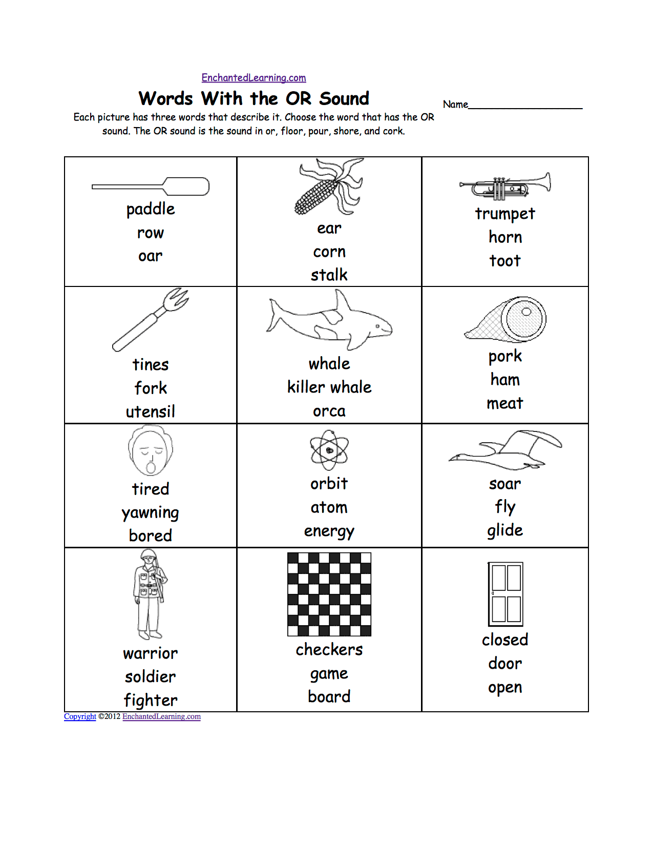 Phonics Worksheet Ore
