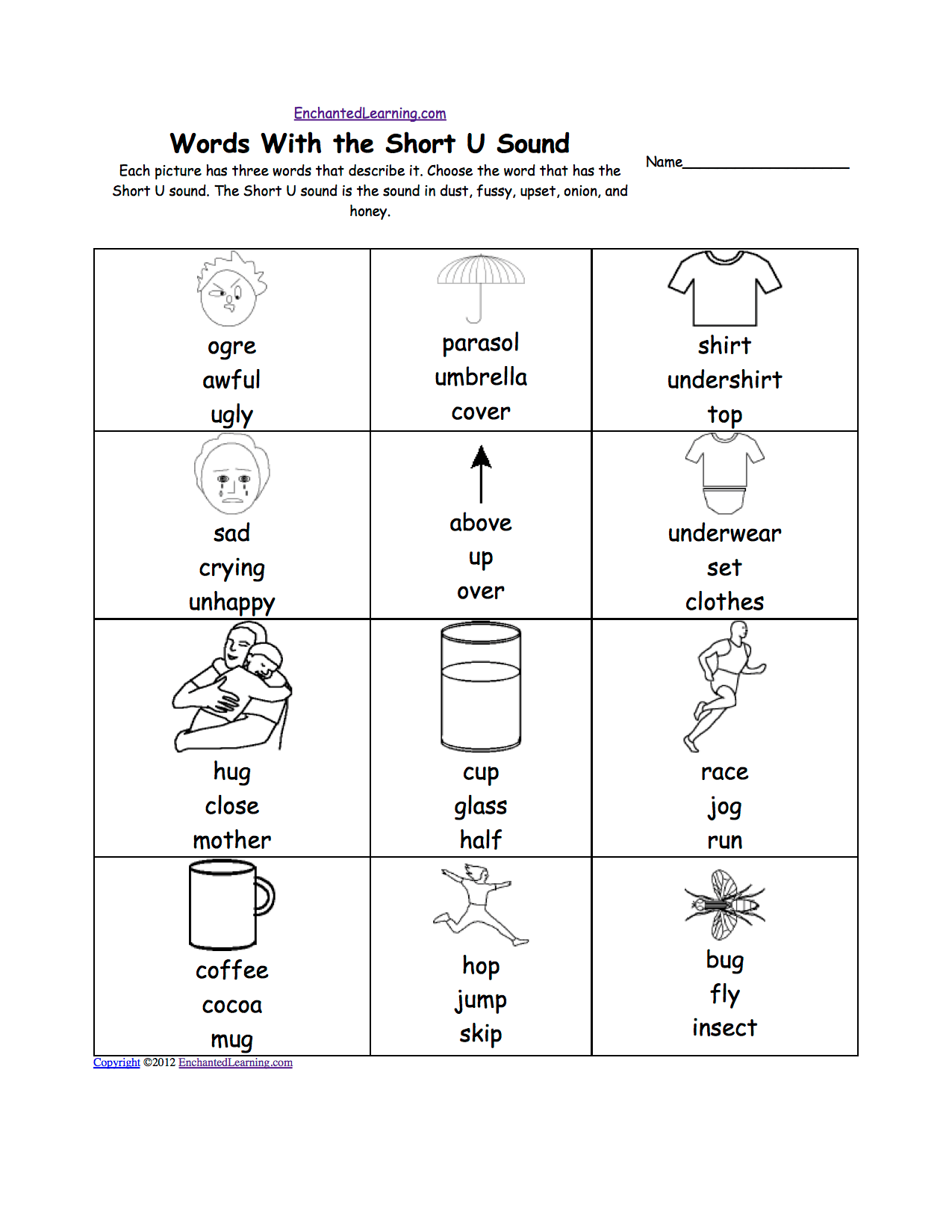 Short U Alphabet Activities At Enchantedlearning