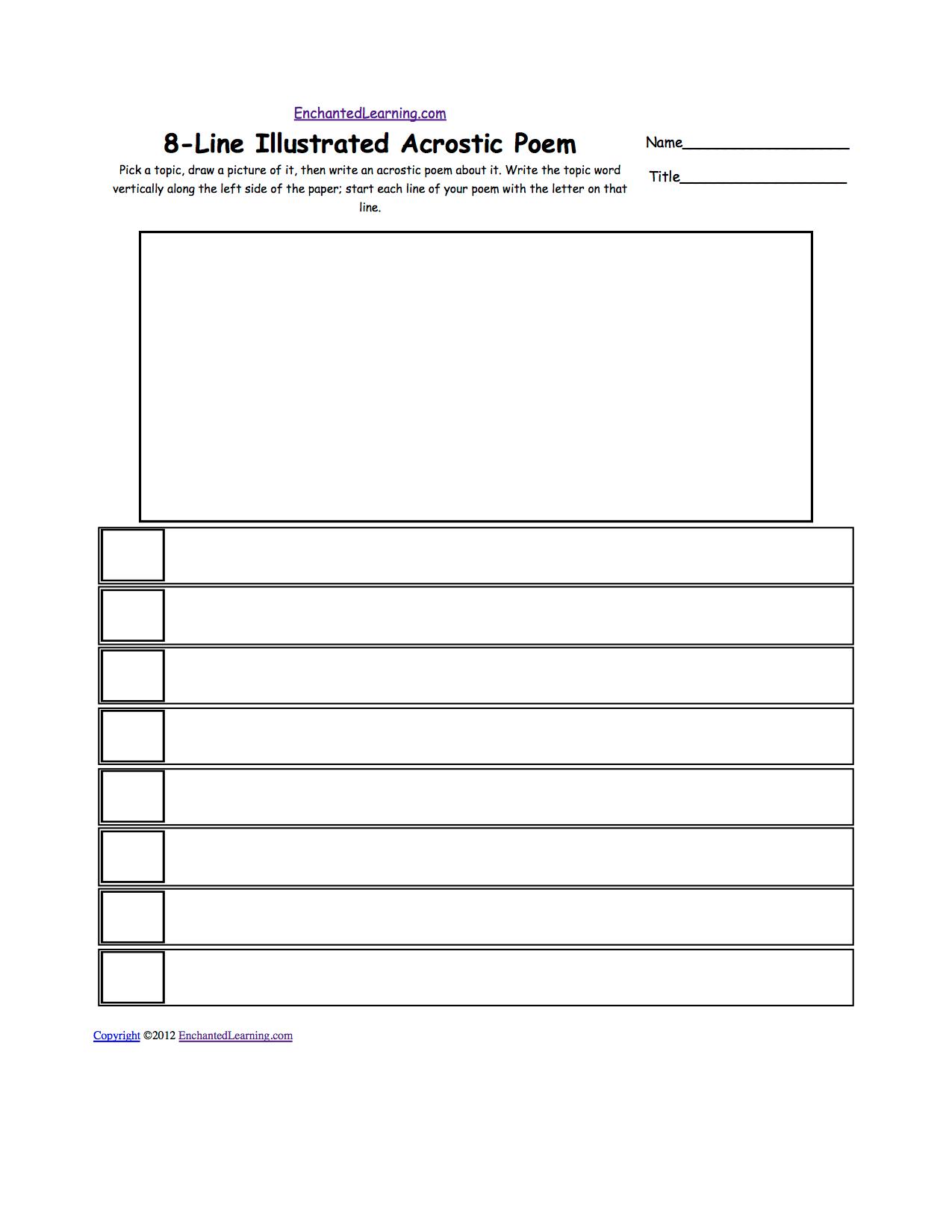 Blank Illustrated Acrostic Poem Worksheets Worksheet