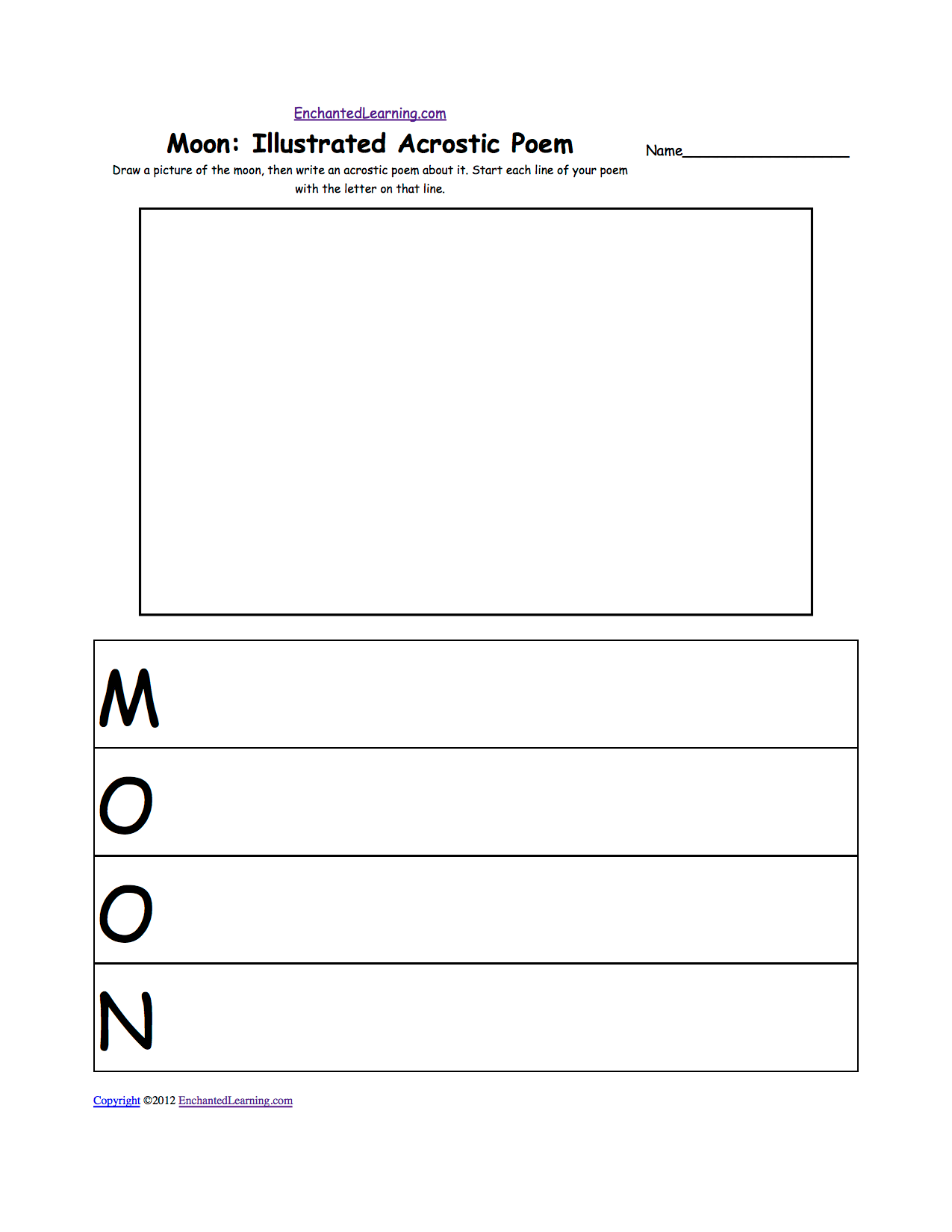 The Moon K 3 Theme Page At Enchantedlearning